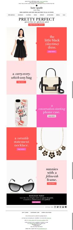 Kate Spade email design More ideas at http://www.brightpreneur.com