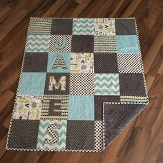 Baby quilt handmade personalized minky baby blanket baby gift minky baby quilt personalized handmade crib quilt personalized baby gift negle Image collections