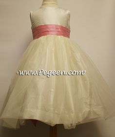 New Ivory and Lollipop Pink Tulle Flower Girl Dresses Style 356 by Pegeen