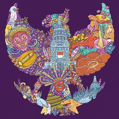 Colorful illustration doodle of indonesia with garuda pancasila shape Premium Vector Poster Background Design, Indonesian Art, Doodle Art Drawing, Doodle Coloring, Bali, Flower Wallpaper, Vector Free, Illustration Art, Doodles