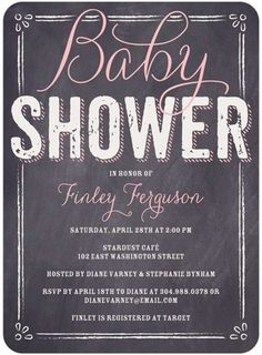 This gray and pink invite is a little more elegant than your average baby shower invite.