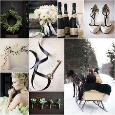 winter inspiration board. sleigh, black, white, evergreen  #wedding