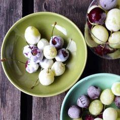 Frozen Yoghurt Dipped Grapes And Cherries. 95 Calories Per Serve.