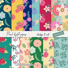 Floral Seamlessdigital paperColorful patternVintageSimple   Etsy Ribbon Clipart, Simple Collage, Simple Flowers, Flower Backgrounds, Embroidery Files, Collage Sheet, Vintage Patterns, App Design, Color Patterns