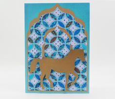 Handmade Card/ Birthday Card/ All Occasion Card - With Gold Horse on Moroccan Theme Paper by SilverGlowDesigns on Etsy