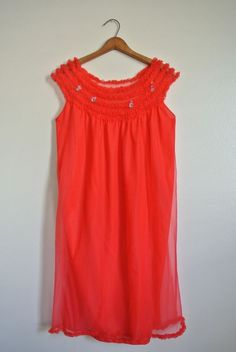 Vintage Penney's ADONNA 60's Red Chiffon NIGHTGOWN Night SMALL Sissy Pin-up…