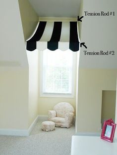 DIY Awning Window Treatment (we have two windows just like this in the future playroom Diy Awning, Home Design, Interior Design, Design Ideas, Diy Casa, Dormer Windows, Window Awnings, Girls Bedroom, Diy Bedroom