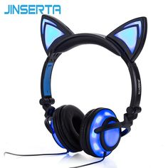 JINSERTA 2017 Cat Ear headphones LED Ear headphone cat earphone Flashing Glowing Headset Gaming Earphones for Adult and Children looks fine in design, features and function. The best accomplishment of this product is in fact simple to clean and control. Gaming Earphones, Cat Headphones, Wireless Headphones, Headphones Online, Bluetooth Headphones, Noise Cancelling, Boy Blue, Cat Lovers, T Shirt
