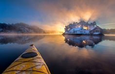This image is captured from kayak in -13 deg C in a small fjord about 20 km…