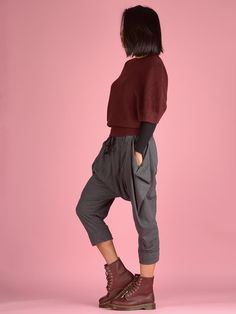 Crop Cotton Harem Pants - Grey - Mid Crotch