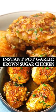 Juicy and fall-off-the-bone chicken thighs with brown sugar garlic sauce, pressure cooked in an Instant Pot for 8 mins. Instant Pot chicken dinner is easy! Chicken Legs And Thighs Recipe, Instant Pot Chicken Thighs Recipe, Chicken Thighs Dinner, Chicken Thighs In Crockpot, Bone In Chicken Recipes, Chicken Thigh Recipes, Healthy Chicken Recipes, Cooking Recipes, Amazing Chicken Recipes