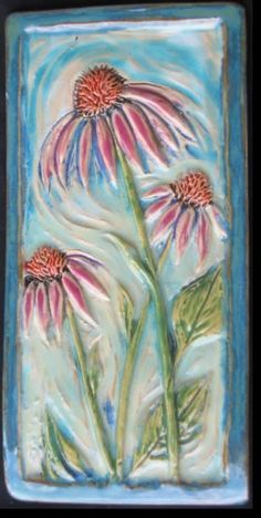 Echinacea ceramic tile, 5 x 10. Handcrafted by Janice Walrafen.