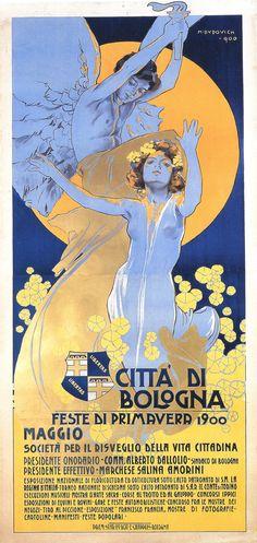 Marcello Dudovich (1878-1962, Italy), 1900, Città di Bologna , Feste di primavera (Spring Ferstival), Lithographic poster, Printer:  Chappuis, Bologna, 200 x 95 cm.