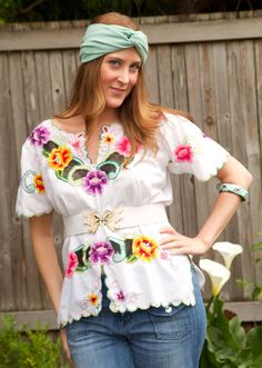 Vintage Mexican Embroidery Blouse  Floral  Medium by atriumalchemy, $34.00