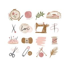 This branding kit includes 16 instagram story highlight icons in pink, beige, black neutral colors  The clip art set is perfect for instagram story highlight icons, knitting sewing machine embroidery yarn crochet craft iron needle and thread, scrap booking, card making, invites, websites, blogs,
