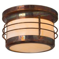 America's Finest Lighting Company Balboa 1 Light Outdoor Flush Mount Shade Finish: Honey, Finish: New Verde
