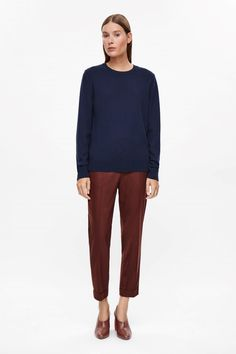 COS image 1 of Long-sleeve cashmere jumper in Midnight Blue