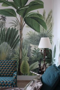 Tropical Interior, Tropical Decor, Tropical Design, Chic Wallpaper, Print Wallpaper, Forest Mural, Tropical Wallpaper, Deco Design, Interior Walls