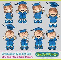 Digital Clipart Graduation Kids Blue 033