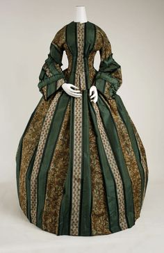1850's dress. Just love the vertical stripes on this dress, especially the forest green.