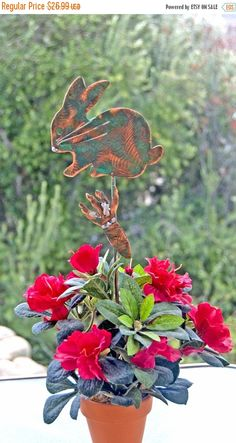 RABBIT – BUNNY Metal Garden Art Plant Stake Copper Patina Rabbit / Indoor – Outdoor Farm Animal Sculpture / Pet Memorial / Spike