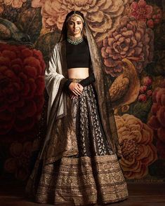 Sabyasachi 2016 bridal collection-Sabyasachi collection 2016 for brides and grooms black lehenga Indian Bridal Lehenga, Indian Bridal Outfits, Indian Bridal Wear, Indian Designer Outfits, Indian Dresses, Indian Wear, Indian Sarees, Indian Designers, Pakistani Outfits