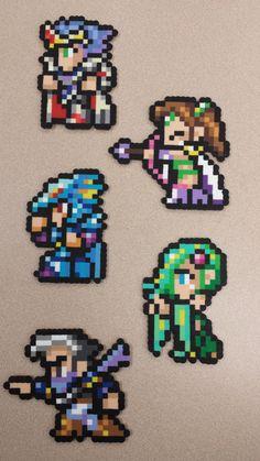 Final Fantasy IV final party perler sprites