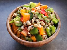 love, laurie: black-eyed pea salad with cilantro, onion, peppers, and lime balsamic vinaigrette