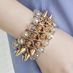 Chic Rivet Pattern Multi-Layered Faux Gem Decorated Bracelet For Women
