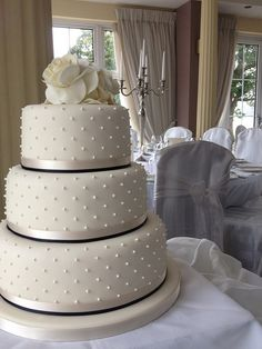 ivory and black wedding cake - Google Search