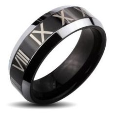 @Overstock - Black Roman numerals ringTungsten carbide jewelryClick here for ring sizing guidehttp://www.overstock.com/Jewelry-Watches/Tungsten-Carbide-Black-Center-Roman-Numeral-and-Beveled-Edge-Ring/6388490/product.html?CID=214117 $48.99