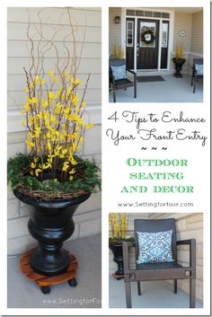 Decorating Tips to add curb appeal to your front entryway or porch. Includes tips for outdoor seating, containers, a wreath and door decor.