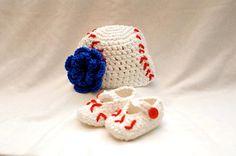 Crochet baseball hat with optional flower by SandrasGifts on Etsy, $20.00