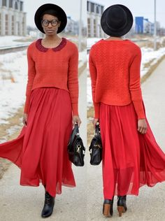 This monochromatic look sure is igniting our fashion senses! #red