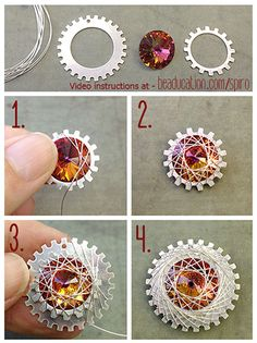 Make a tiny spiro with a 14mm Rivoli by wrapping it onto a small cog, then put that on the larger Notched Washer and wrap that! The video will give you further instructions....it's easy, I promise!  http://www.beaducation.com/spiro