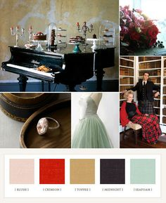 -Accent- Color Pallet: Blush, Crimson, Toffee, Midnight Seafoam