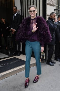 Olivia Palermo is seen arriving at Elie Saab fashion show during Paris Fashion Week Haute Couture Spring/Summer 2018 on January 24 2018 in Paris...