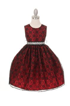 Girls Dress Style 1132BT - RED Taffeta and Lace CREATE YOUR OWN DRESS  The perfect dress for her special day, this dress is so stylish. The dress is made in beautiful floral lace and the waist line is accented with an adorable bow. The skirt on this dress has the perfect amount of fullness. Comes in endless removable rhinestone sash options.  http://www.flowergirldressforless.com/mm5/merchant.mvc?Screen=PROD&Product_Code=CC_1132BT_R&Store_Code=Flower-Girl&Category_Code=Red