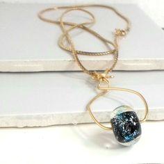 Necklace lampwork Bobs Flame Beads  wirework goldtone Pat2 #Pat2 #pendant