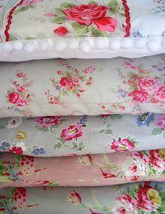 Vintage fabrics make wonderful pillows. Biddy Craft