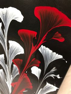 String Pull Acrylic Art Flower Black background with white and red flowers Acrylic Pour Painting, Fluid Art, Abstract Painting, Original Artwork, Acrylic Pull Painting Wrapped Canvas Acrylic Pouring Art, Acrylic Art, Pour Painting, Painting Abstract, Painting Mirrors, Original Paintings, Original Artwork, Art Paintings, String Art