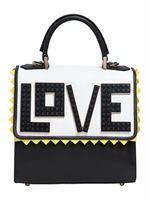 Height: 21cm Width: 32cm Depth: 10cm. Detachable leather shoulder strap. Single leather top handle. Front flap with magnetic closure. Front Lego details. Suede triangle trim . One internal patch pocket. One internal zip pocket. Metal feet at base of bag. Cotton lining