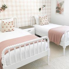 Sale ends soon. Our Jenny Lind Kids Bed (White), featuring dozens of woodturnings, provides a modern take on the classic design. Twin Girl Bedrooms, Sister Bedroom, Big Girl Rooms, Girls Twin Bedding, Bedroom For Twins, Twin Bed Room, Toddler Bedding Girl, Toddler Twin Bed, Twin Bed For Girls