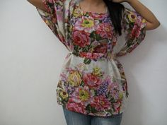 Floral kaftan Top,kaftan dress - Perfect for outings to be worn over jeans or leggings, lounges, beaches, spa robes, to be mums. $24.95, via Etsy.