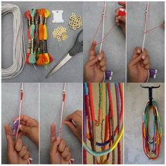 DIY African Rope Necklace thread wrap - (it's in spanish but I think you can get the idea from the picture) Textile Jewelry, Fabric Jewelry, African Necklace, Diy African Jewelry, Jewelry Stores Near Me, Rope Necklace, Rosary Necklace, Diy Schmuck, Diy Jewelry