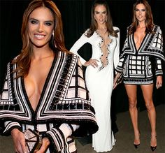 Now THAT\'S how to take the plunge! Alessandra Ambrosio flashes the flesh in two sizzling frocks at Latin Grammys.  As one of the world\'s most successful models, she certainly knows how to make an impression with her fashion choices. And Alessandra Ambrosio did not disappoint at Thursday night\'s Latin Grammys - swapping one revealing dress for another. The stunning 33-year-old arrived in a black and white Balmain mini frock which showed off much of her cleavage before later swapping to a…