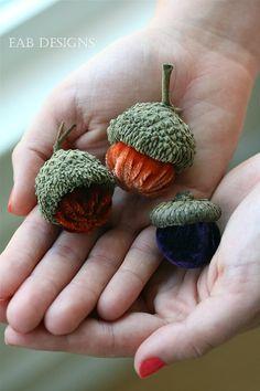 Velvet Acorns Silk Velvet Acorns Acorns Fall Colors by eabdesigns