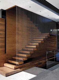 Modern Stair Railing, Stair Railing Design, Stair Handrail, Staircase Railings, Staircase Ideas, Railing Ideas, Staircase Pictures, Floating Staircase, Staircases