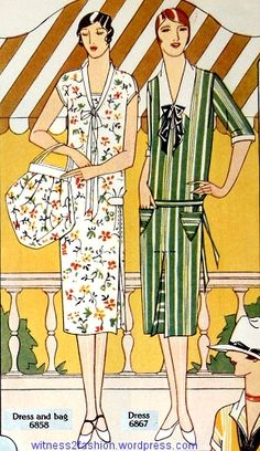 Butterick patterns 6858 for a dress and bag, and dress 6867. Delineator, June 1926, p. 28.