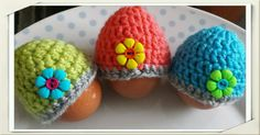 Egg cosies/ Easter egg decorations/ Handmade crochet mini hats/ Flower button